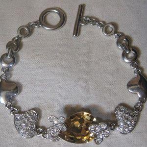 Silvertone Cubic Zirconia Heart/Butterfly Bracelet
